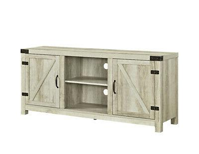 barn door tv stand white