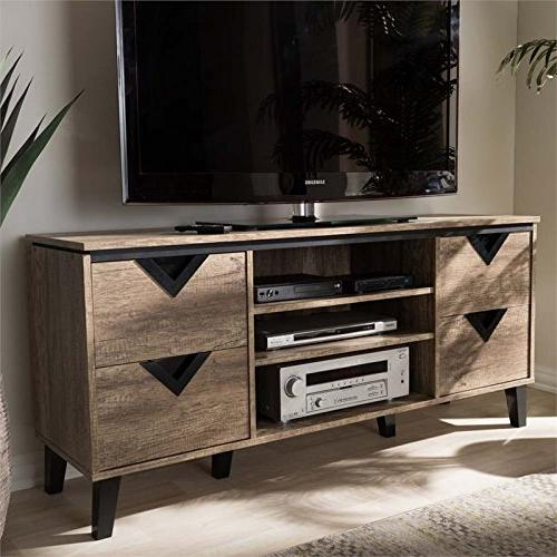 Baxton Wood TV Stand Distressed