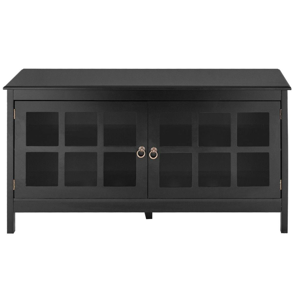 Black TV Wood Storage Console Entertainment Media Cabinet
