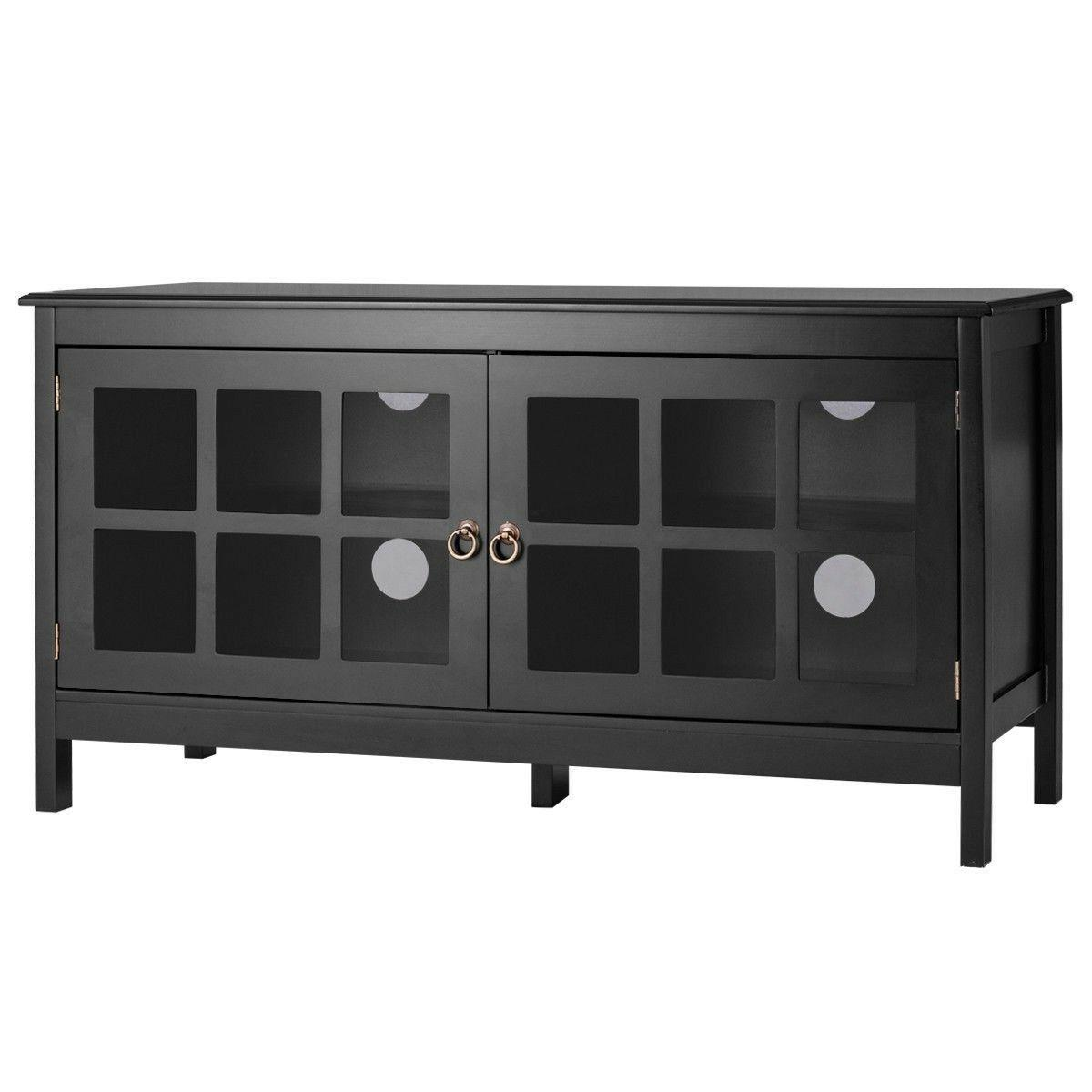 "Black 50"" TV Wood Storage Media"