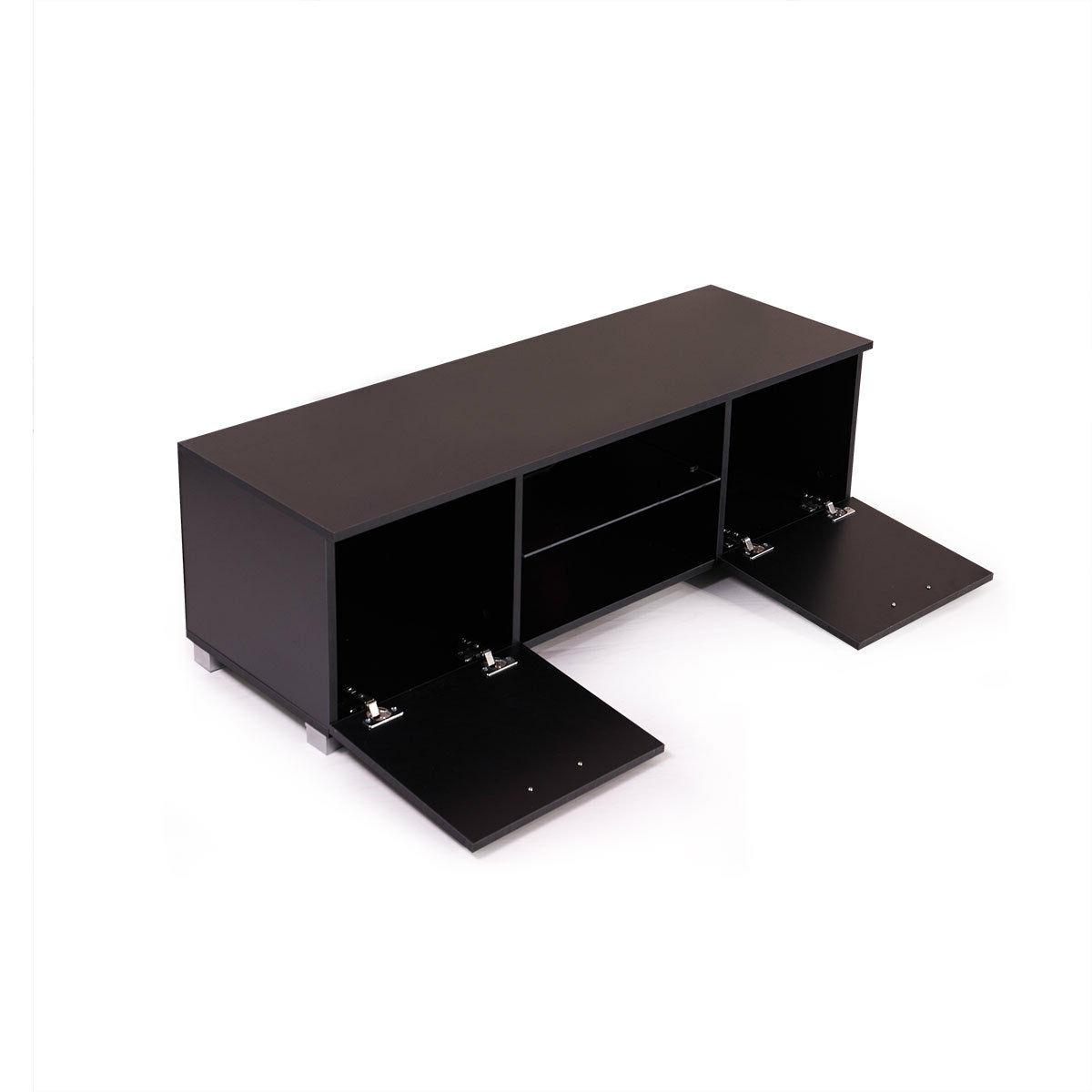 Black Entertainment Center Console Furniture GlossTV Stand