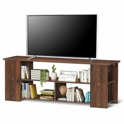 Brown 2-Tier Stand Entertainment Center Shelf New