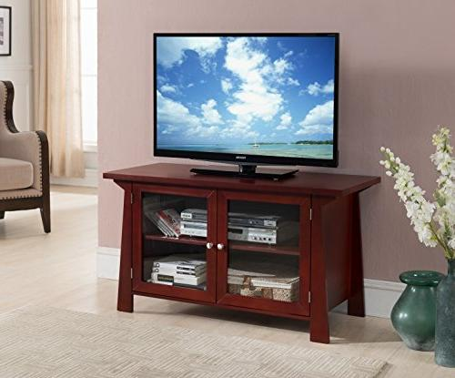 Kings Brand Cherry Finish Wood TV Stand Storage Console with