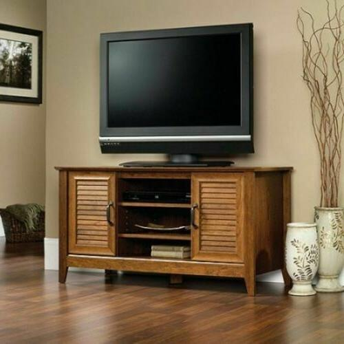Cherry Wood Finish TV Stand, Entertainment Center Console St