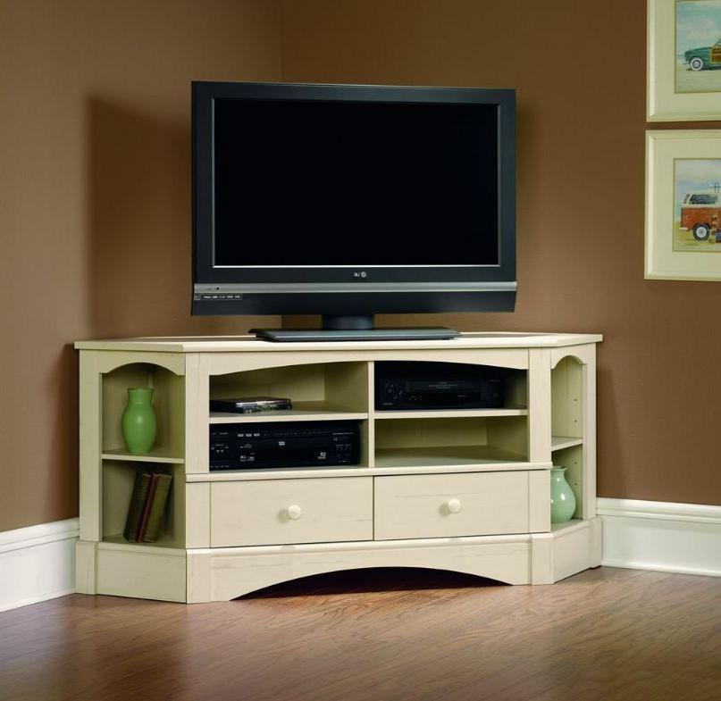 Corner TV Stand for Flat Screens Entertainment Center Cabine