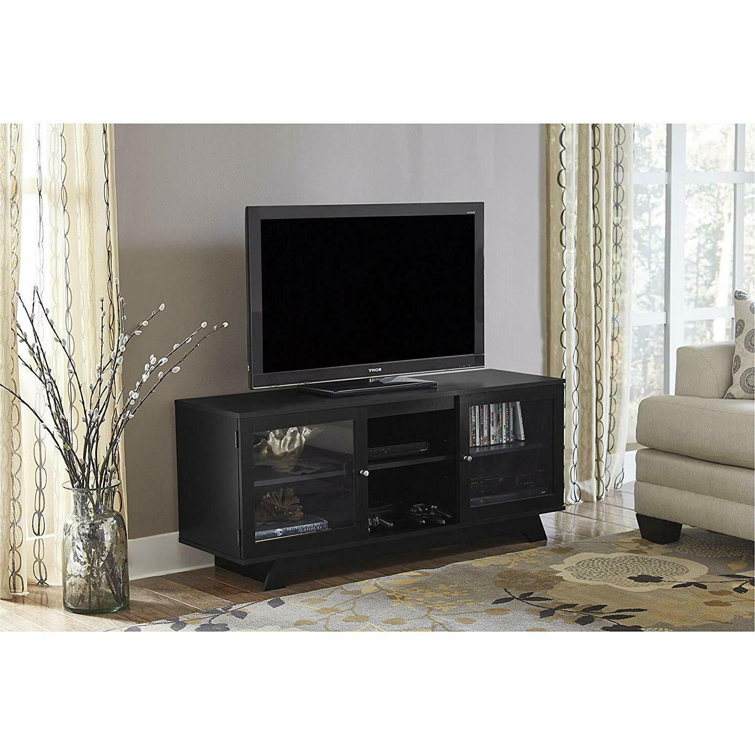 Entertainment Center Black up to Flat 4K Screens Organizer