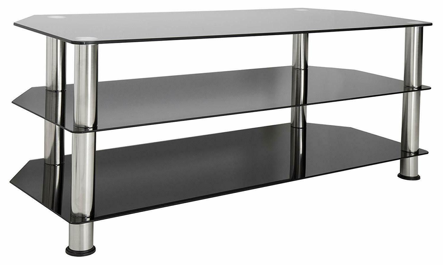 entertainment center tv stand tempered glass chrome