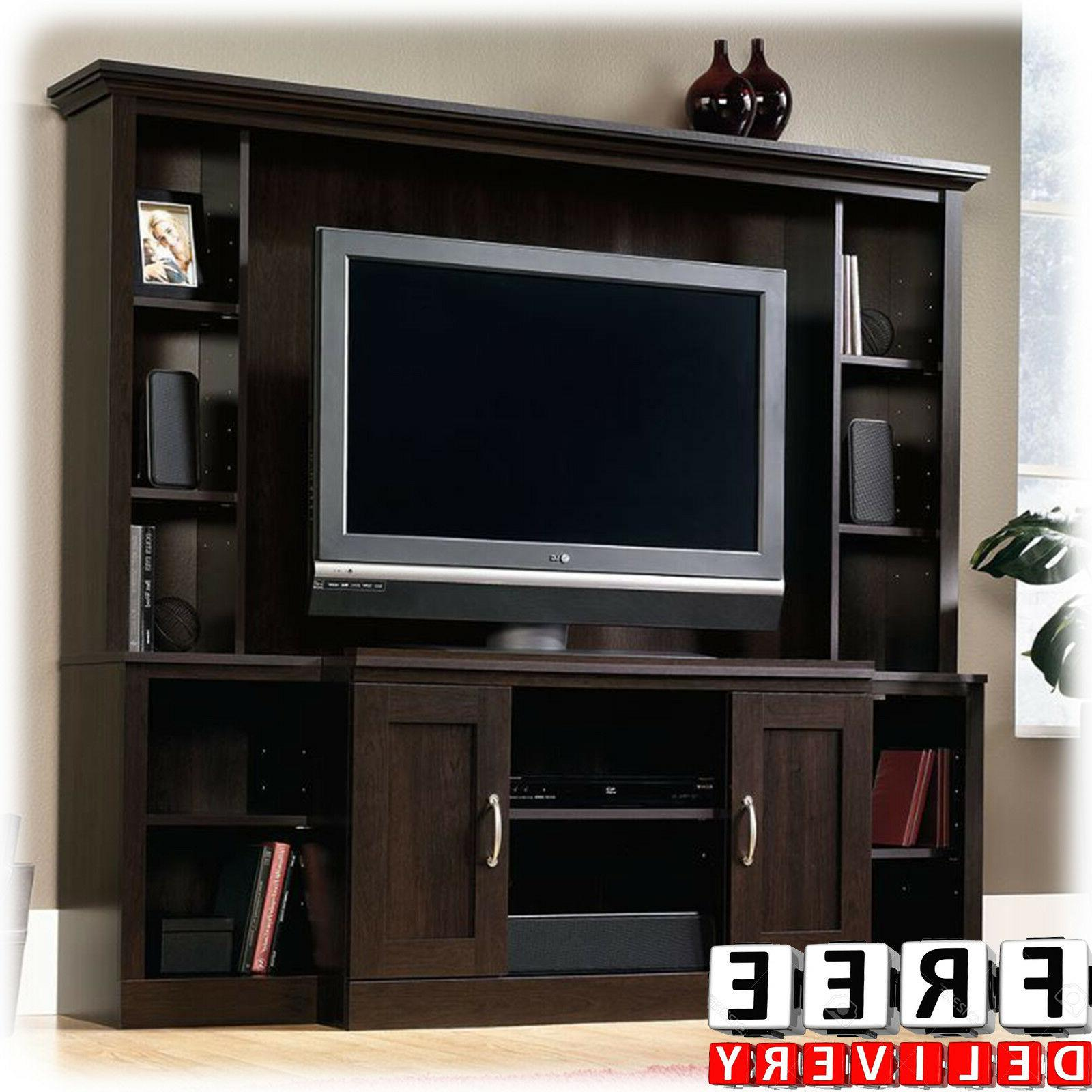 """Entertainment Center Wall Unit TV Stand 47"""" Wood Bookcase Sh"""