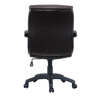 Costway PU Leather Mid-Back Task Office Chair Brown