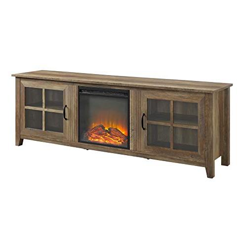 farmhouse wood fireplace tv stand