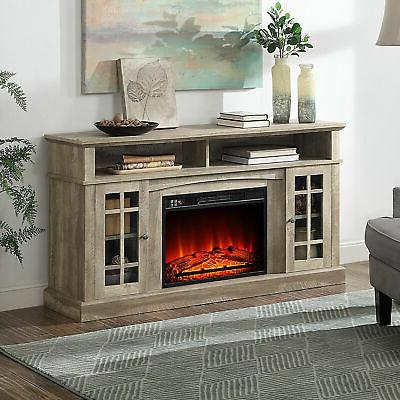 fireplace tv stand console media shelves