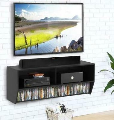 Floating TV Stand Mount Media Console Black