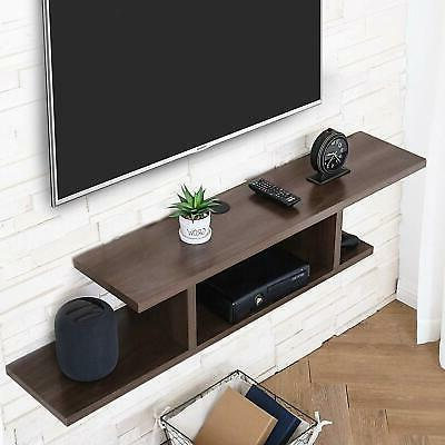 Floating Wall Console Entertainment Center Stand Wood
