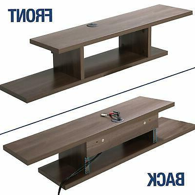 Floating Console Entertainment Center Stand Wood