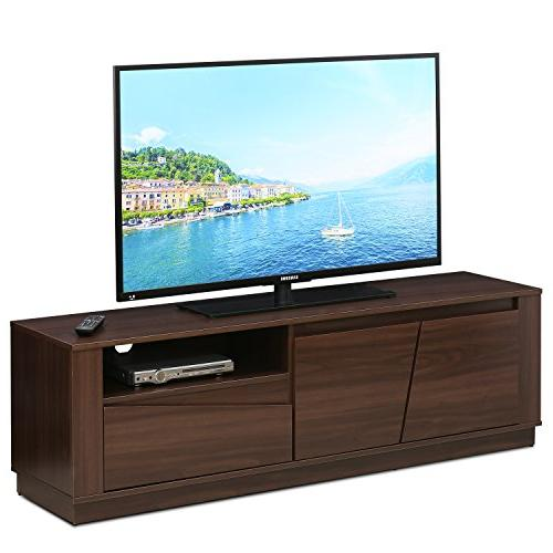 Furinno FVR7296WN Entertainment Center TV to 65 2 Drawer,