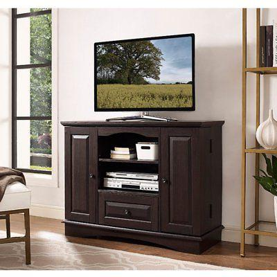 highboy wood tv media stand storage console