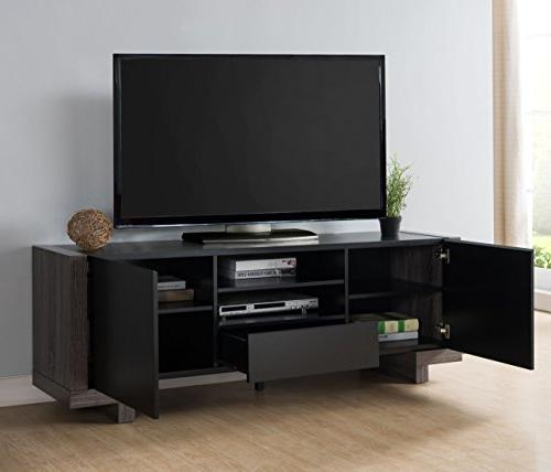"HOMES: Inside Out IDI-161701 Santis 64"" TV Stand, Weathered Gray/Black"