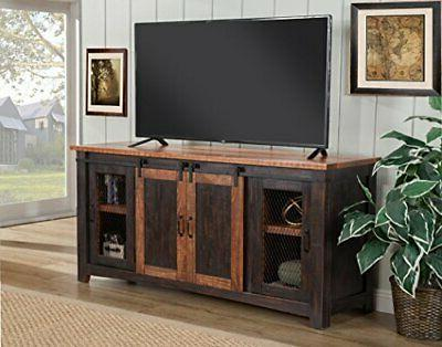 Martin Fe Stand, Black and Aged Distressed Pine