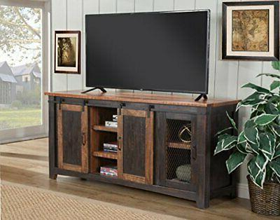 Martin Fe TV Stand, Antique Black and Aged Pine