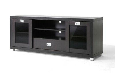 Baxton Studio Matlock Modern TV Stand with Glass Doors