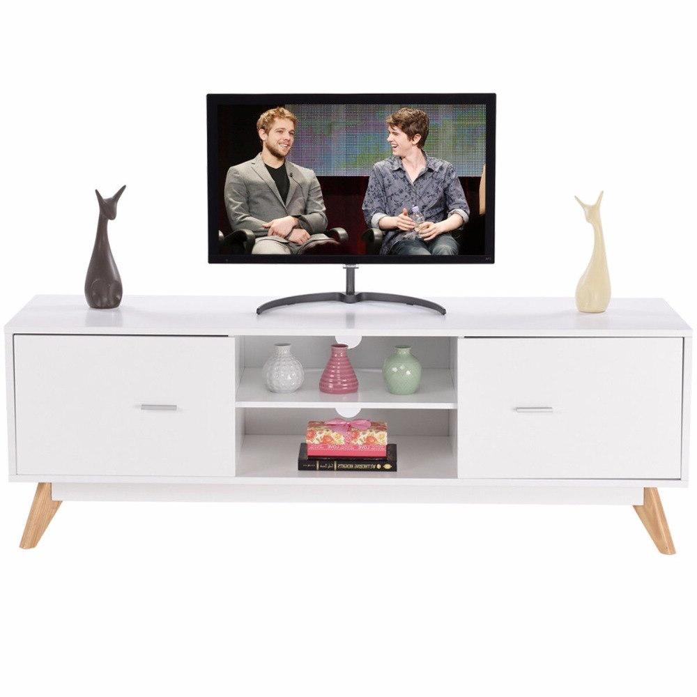 Giantex Modern TV Stand <font><b>Entertainment</b></font> Console Stand White Furniture