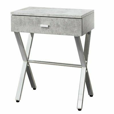 night stand grey cement chrome