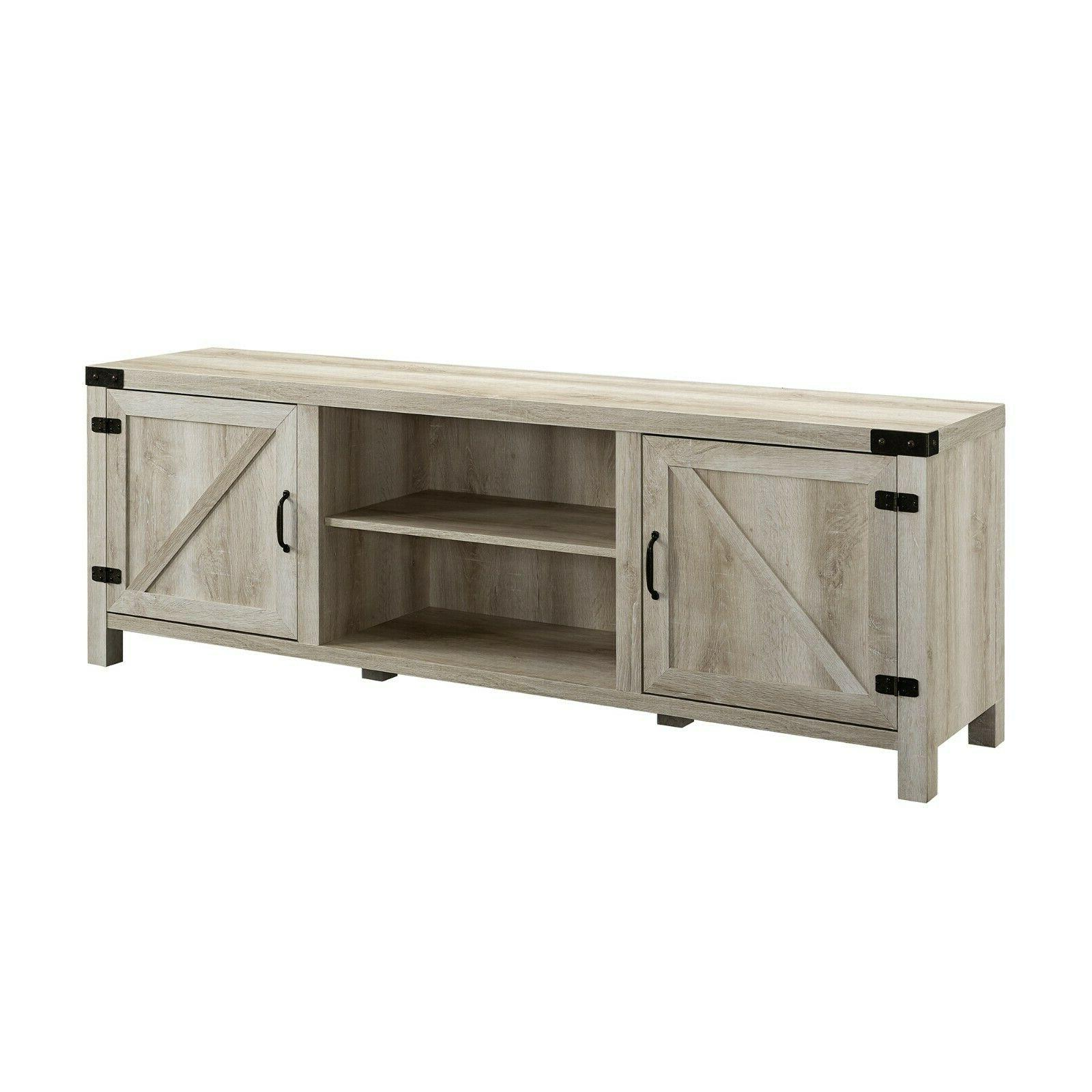 """Rustic Entertainment Smart 4k Wood up 78"""" White"""