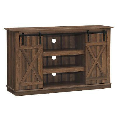 Sliding Barn TV Console Up to Entertainment Center
