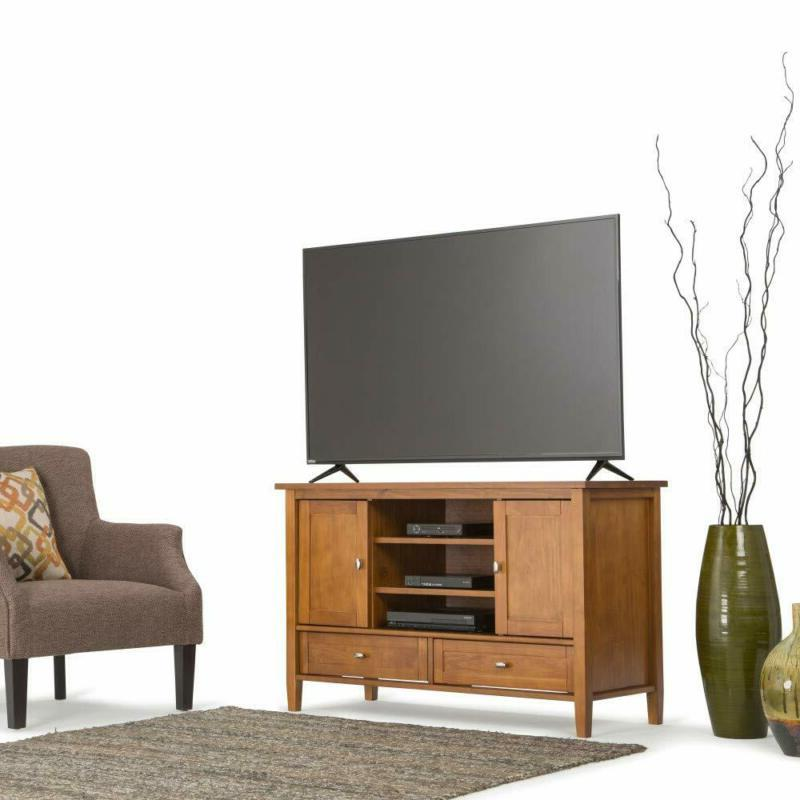 Solid Wood Entertainment Center Rustic Golden Brown up 50