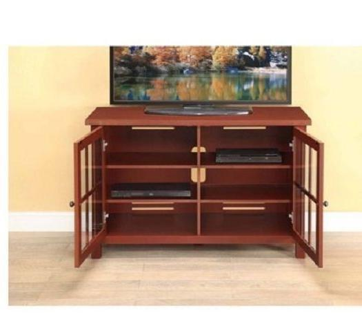 TV Enclosed Red Console Shelves 55 in
