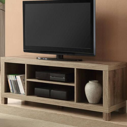 """TV CONSOLE STAND 42"""" ENTERTAINMENT Center Wood Media Cabinet"""
