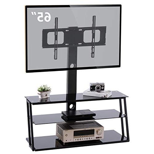Center Swivel and Storage and 3-in-1 TV for 32 50 55 65 inch LCD Flat Screen TVs,Black TW3001