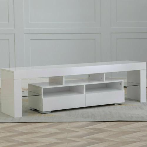 TV Stand Entertainment Console Gloss Unit w/ RGB Lights