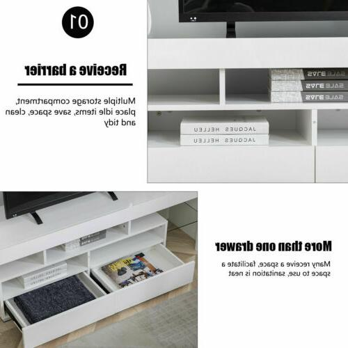TV Stand Entertainment Console Gloss Cabinet Unit Lights