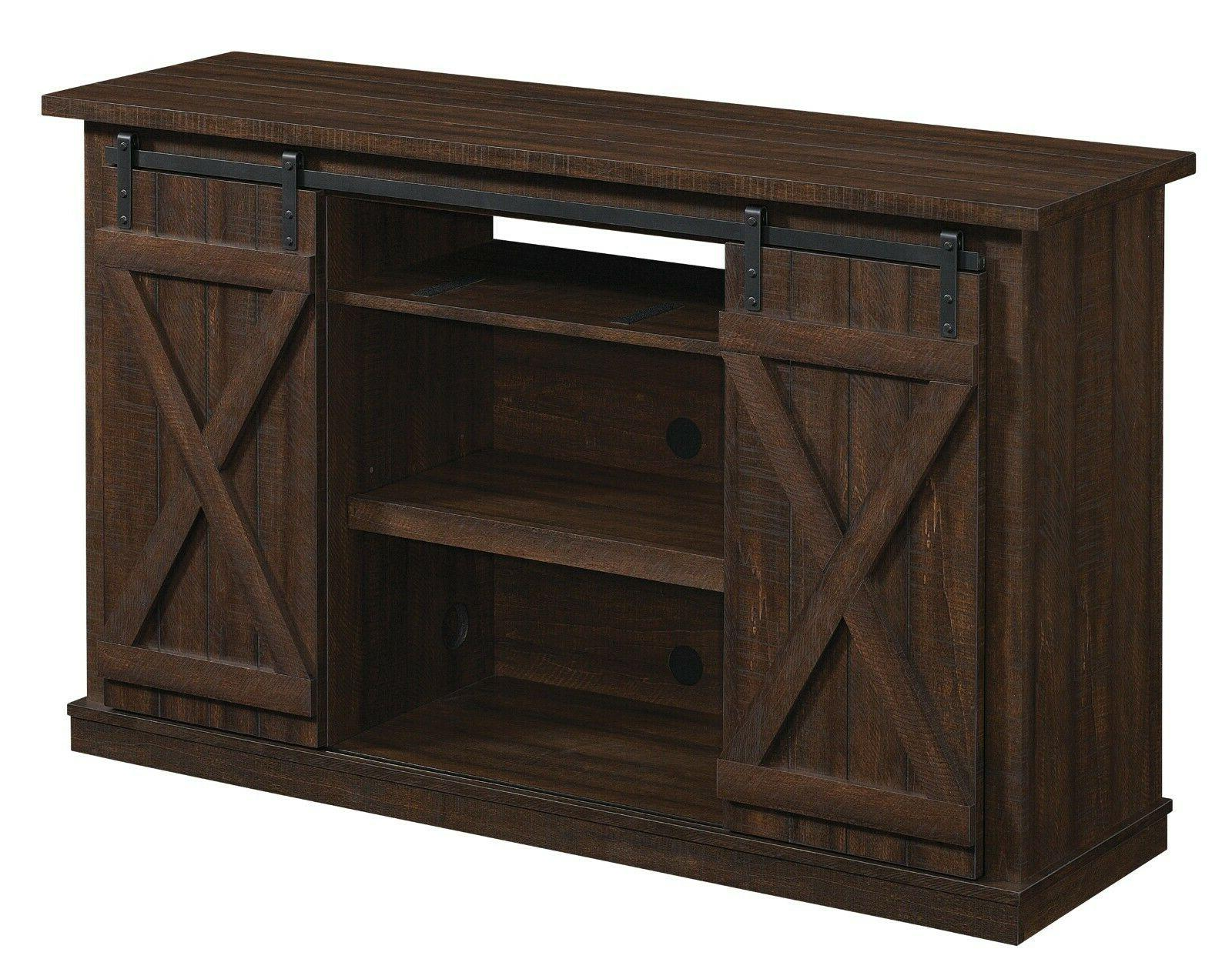 TV Entertainment Center Console Wood Barn Door Rustic