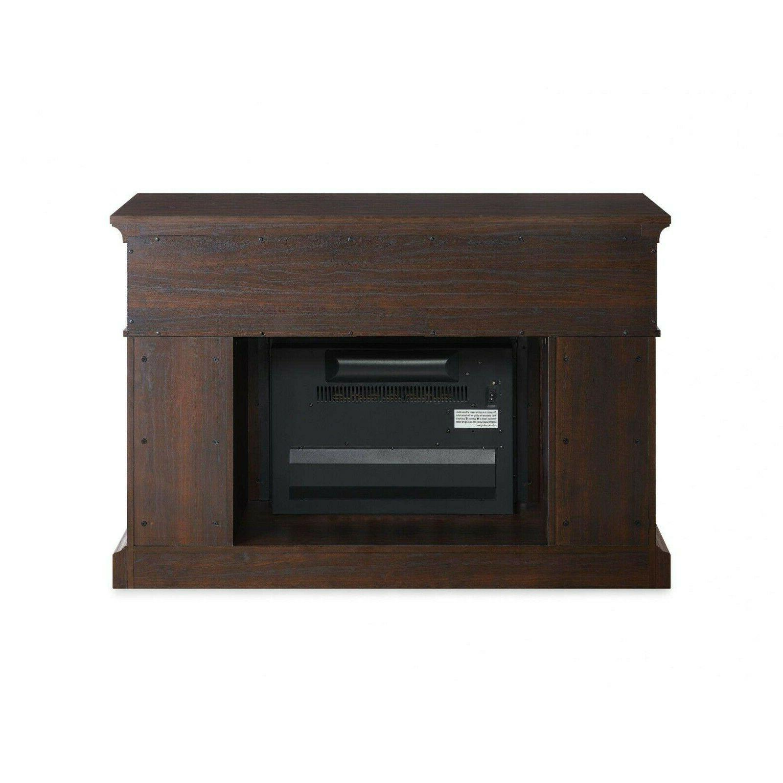 TV Stand Entertainment Electric Fireplace Heater Control Cherry