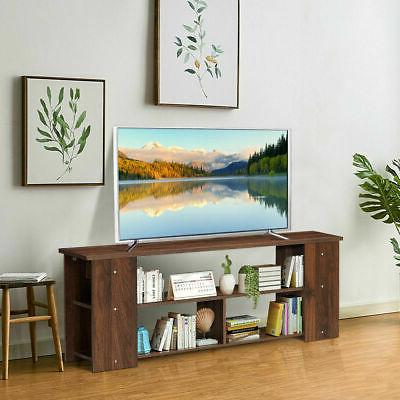TV Stand Center Console Shelf Cabinet Brown