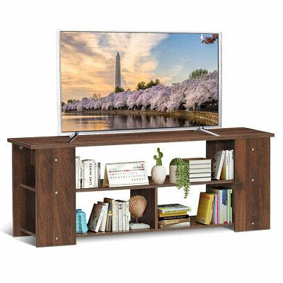 Brown TV Stand Entertainment Console Shelf TV's New
