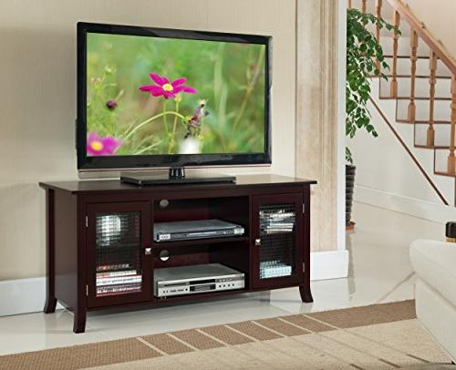 Kings Brand Furniture 48-Inch TV Stand With Glass Doors, Dar