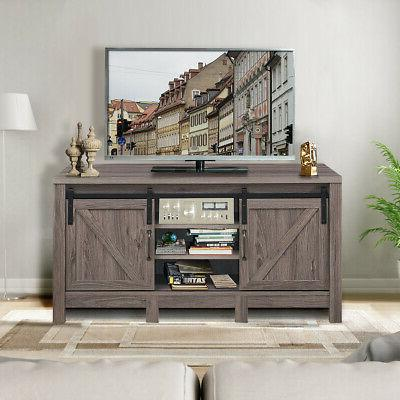 TV Stand Barn Door Entertainment TV's up with