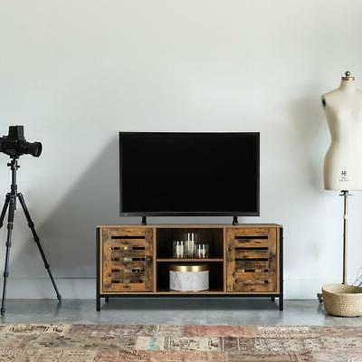 Rustic Stand Entertainment Center Farmhouse Console Two Cabinet