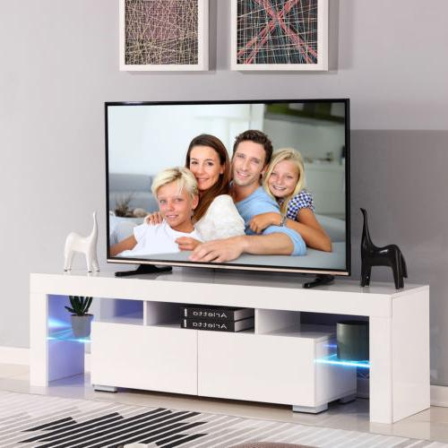 63'' High Gloss TV Stand White Entertainment Center Unit Cab