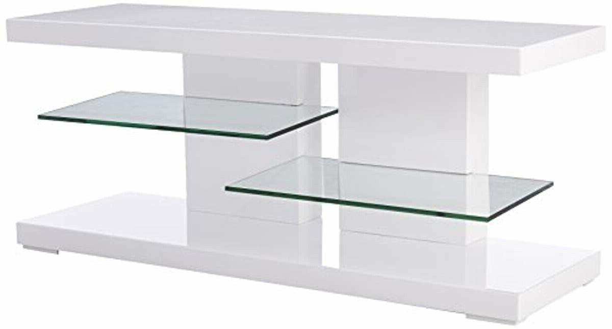 tv stand with alternating glass shelves glossy