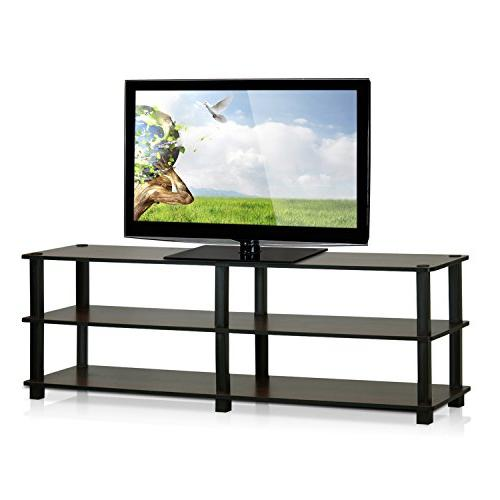 Furinno TV14038DBR/BK Tools 3-Tier Entertainment TV Stands, Dark