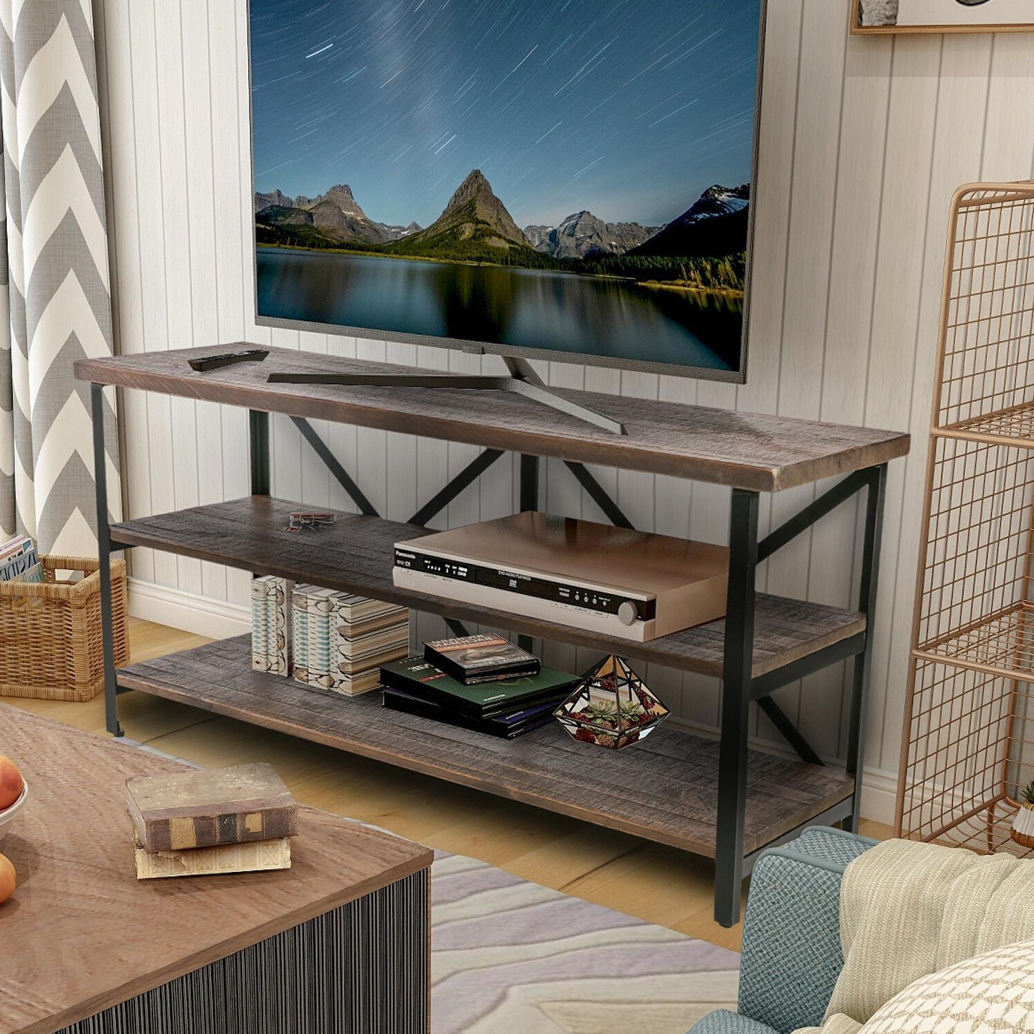 Vintage Industrial TV Console Center Table Rustic