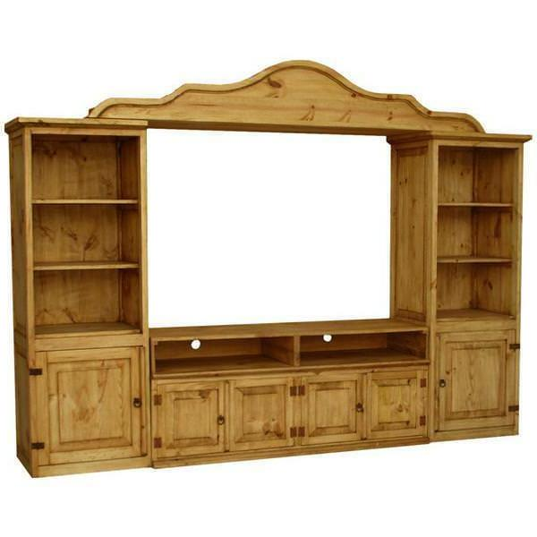 Vintage TV Stand Entertainment Center Rustic Antique Solid W