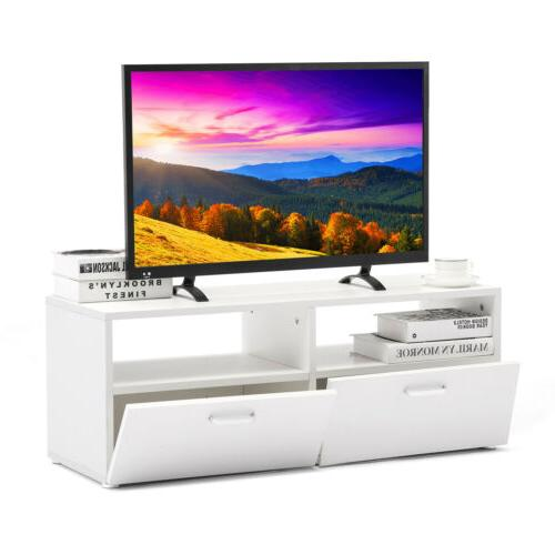 Wall TV Stand Entertainment Console Media Cabinet White