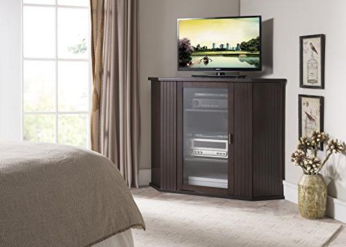 walnut finish wood corner tv