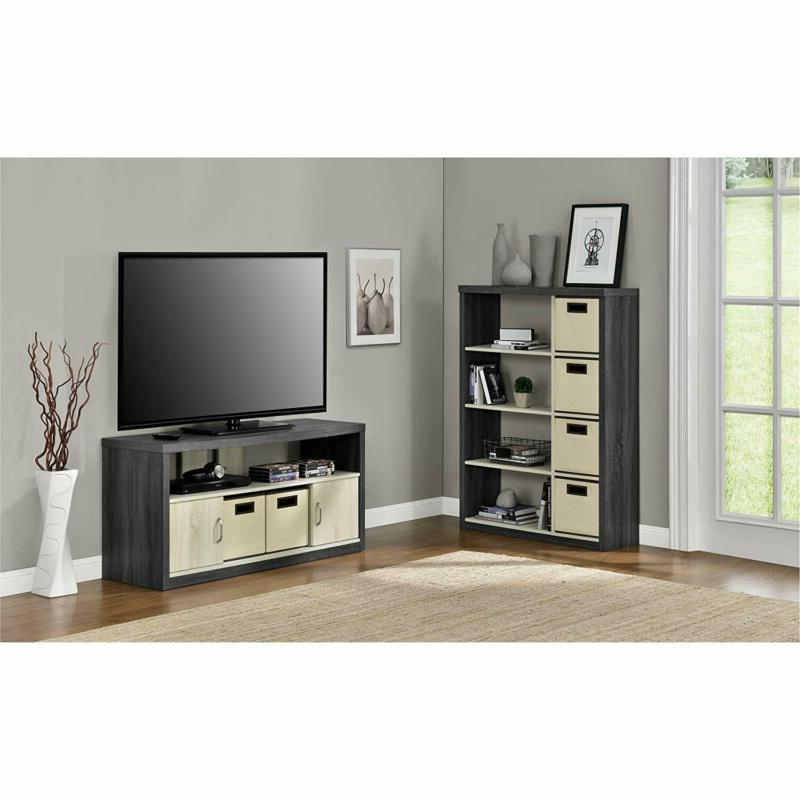 Ameriwood Stand TVs up to with 2 Fabric Bins, Espresso