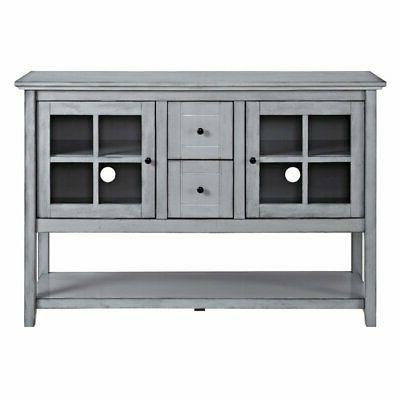wood 52 in console table buffet tv